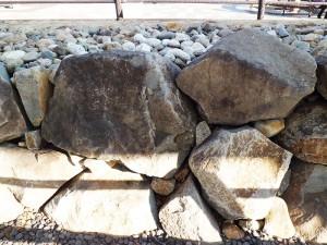 甲府城の発掘された石垣