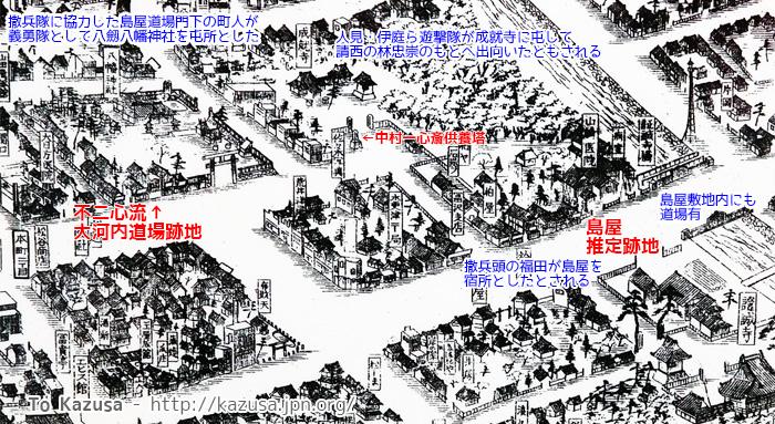 木更津鳥瞰図で見る島屋と戊辰戦争